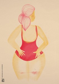 "Illustration ""femme au maillot rouge"" by annelyse.fr"