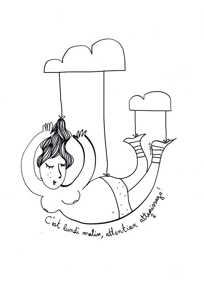 """illustration """"atterrissage matinale"""" de Annelyse avec un y"""