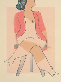 """Femme assise au gilet rose"" by annelyse.fr"