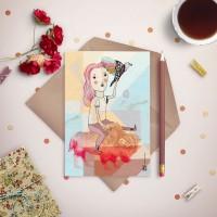 """Carte illustrée """"Fille au taureau"""" par annelyse.fr"""