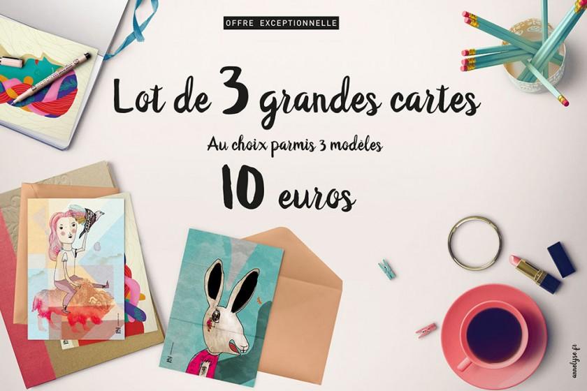 Offre trois cartes pour 10 euros au lieu de 12 euros
