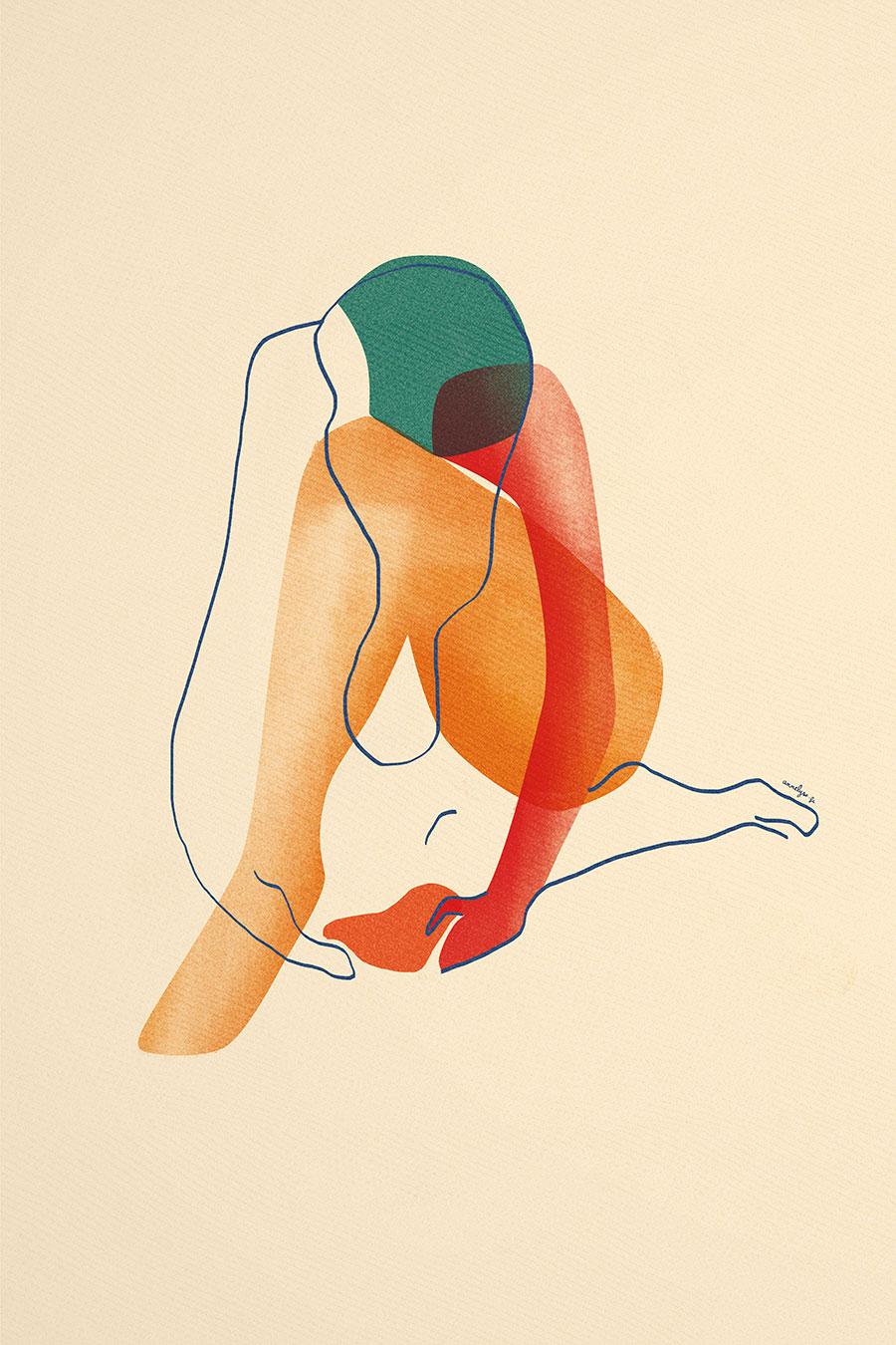 """Illustration """"cache-cœur blessure"""" par annelyse.fr"""