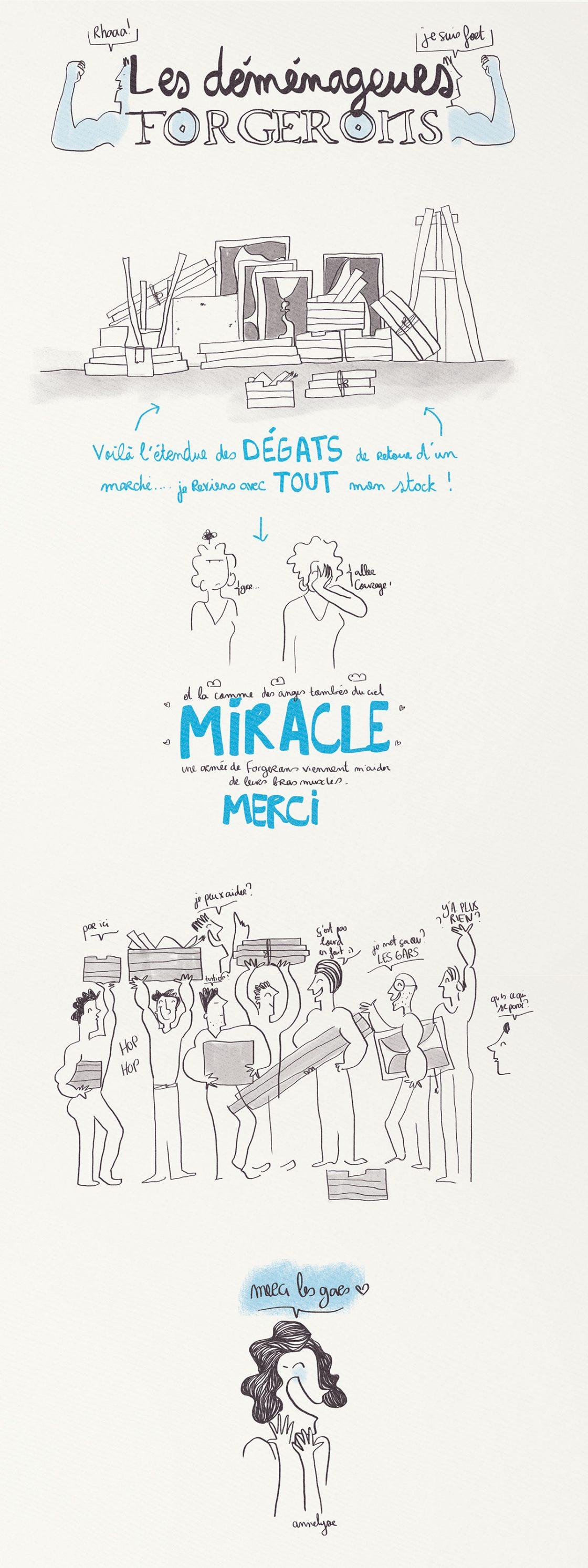 """""""Les déménageurs forgerons"""" illustration de annelyse.fr"""