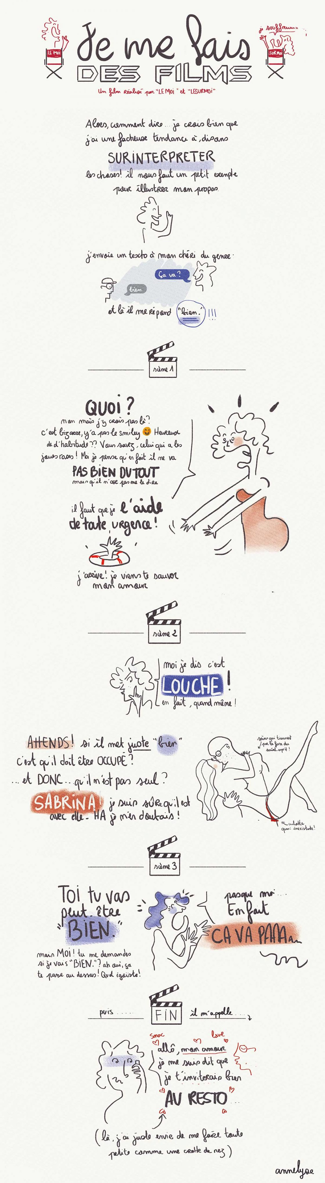 """je me fais des films"" illustration by annelyse.fr"
