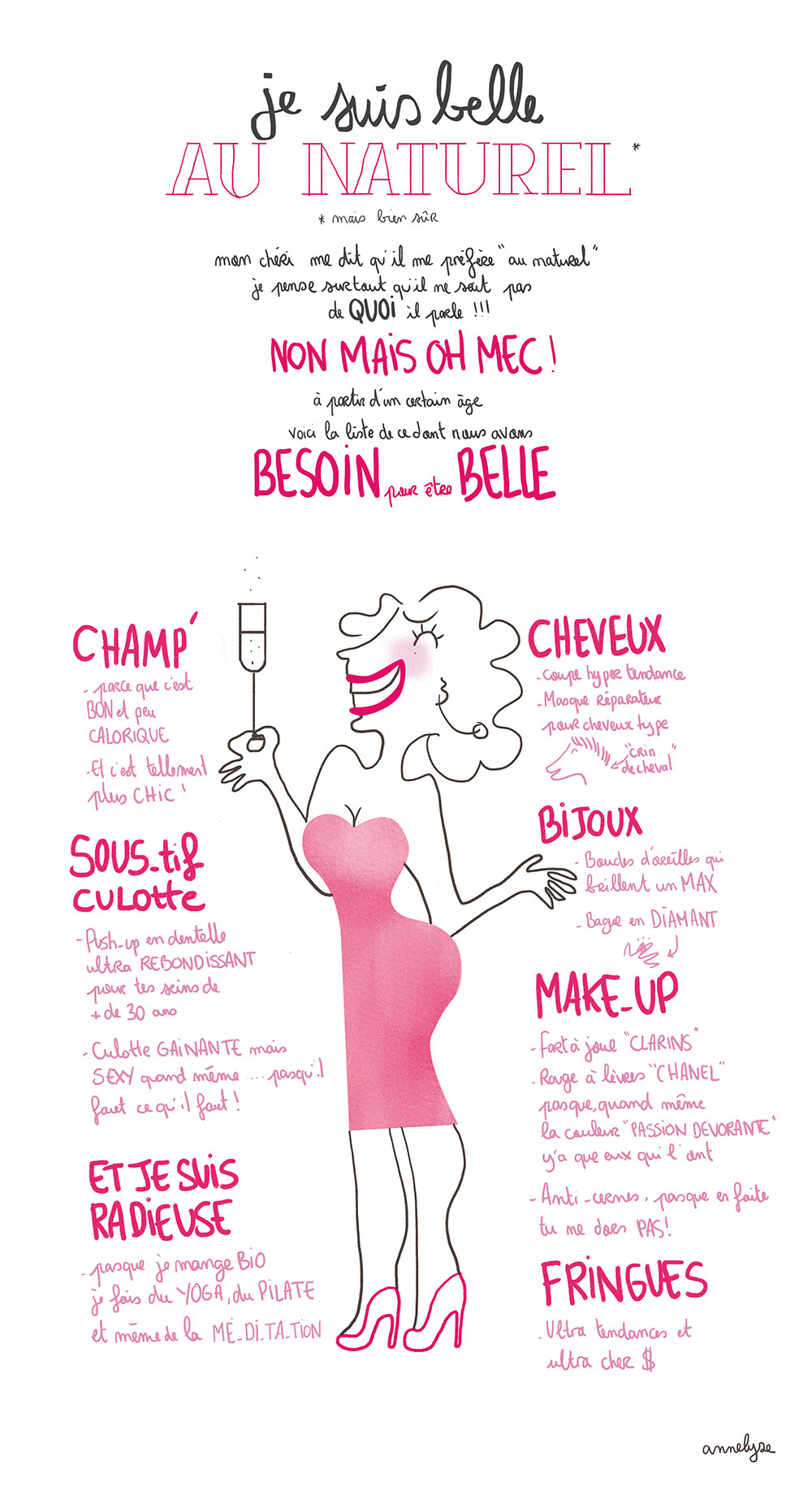 """Je suis belle au naturel"" illustration by annelyse.fr"